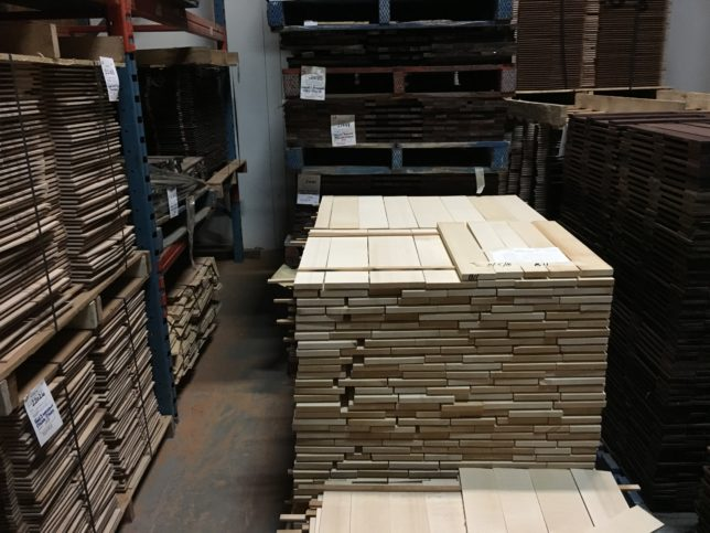Stacks of wood in the drying room which is kept at 5% humidity.