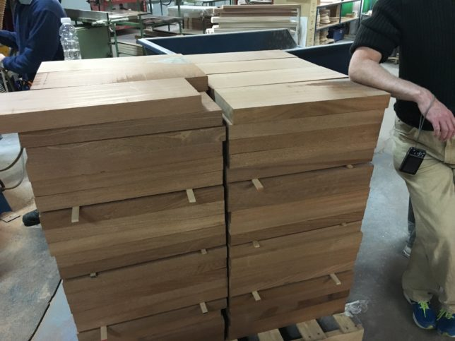 Solid mahogany blocks before they are cut.